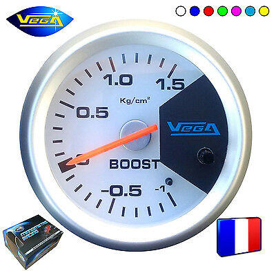 ► Manomètre Racing Vega® France 52mm Pression Turbo 7 couleurs -1 à +1,5 bars ◄