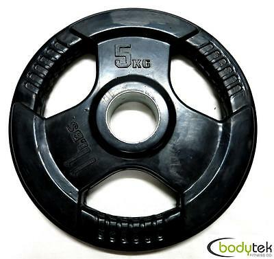 5Kg Olympic Rubber Weight Weights Plate EZ Grip Fitness Gym Barbell Pickup Ok
