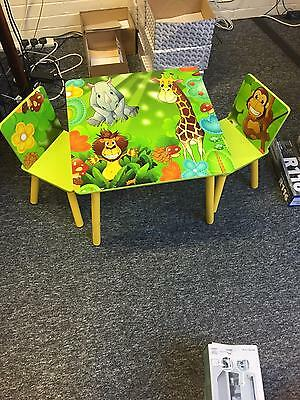 *ex Display* Seconds Used Kids Childrens Jungle Themed Table And 2 Chairs Set