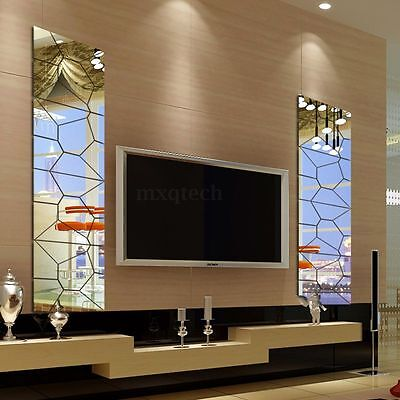 DIY 3D Acrylic Modern Mirror Decal Art Mural Wall Sticker Home Decor Removable