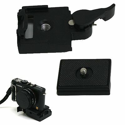 Black Camera Tripod Quick Release Plate Mount Screw Station Adapter Clamp Set