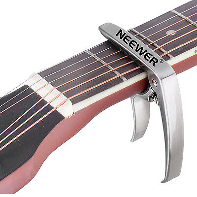 2-in-1 Silver Aluminum Single-handed Guitar Capo with Bridge Pin Puller FX#18