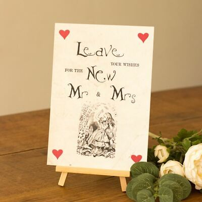 Alice in Wonderland Style 'Leave Your Wishes' Sign Easel Wedding Guest Book
