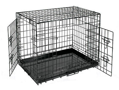 "18""-48"" Pet Cage Crate Black Metal Wire Transport Carrier Indoor Dog Cat House"