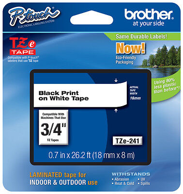 "Brother 3/4"" (18mm) Black on White P-touch Tape for ST5, ST-5 Label Maker"
