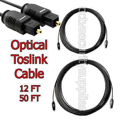 Optical Toslink Digital Audio Cable (S/PDIF) Optic Fiber Dollby DTS Lot 12, 50FT