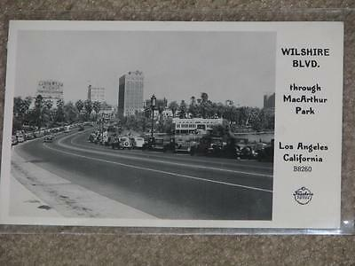 RPPC, Wilshire Blvd. through MacArthur Park, Los Angeles, Calif.