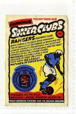 (Ga2017-407) Anglo American Gum, Famous Soccer Clubs, #96 Rangers c1959 VG
