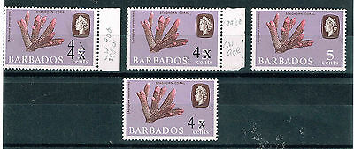 Barbados 1970 4c surcharge errors SG2398d,398e,398f mm