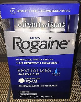 (3) ROGAINE MENS 5% TOPICAL FOAM MINOXIDIL 3 Month Supply 2.11oz CANS MAY2019