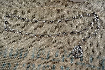 VINTAGE silver metal chain belt 1960s/70s with St Christopher medallion