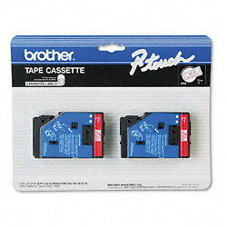 """Brother 1/2"""" (12mm) Red on Clear P-touch Tape for PT20, PT-20 Label Maker"""