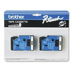"Brother 3/8"" (9mm) White on Black P-touch Tape for PT12, PT-12 Label Maker"