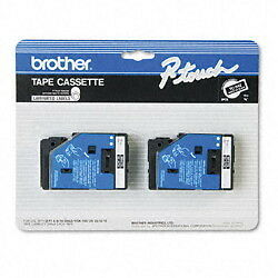 "Brother 3/8"" (9mm) White on Black P-touch Tape for PT15, PT-15 Label Maker"