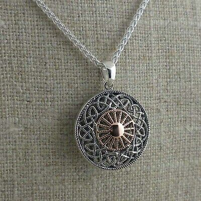 Sterling Silver & 10K Rose Gold Small Celtic Sun Pendant made by Keith Jack
