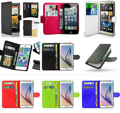 Flip Leather Wallet Case Cover For Samsung , Iphone, Htc , Nokia Mobile Phones