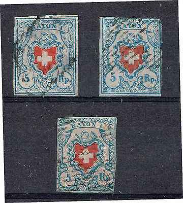 "Switzerland 1850 5rp ""Rayon 1"" x 3 used"