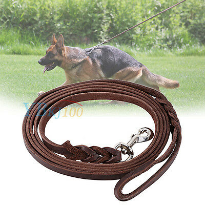 Soft Durable Braided Leather Brown Pets Dog Training Walking Lead Leash Strap