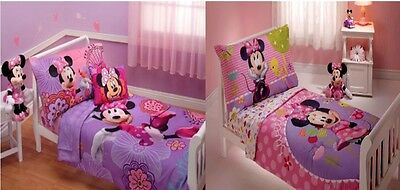 New Girls Disney Minnie Mouse 4 Piece Toddler Bedding Set 3
