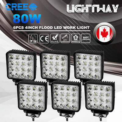 6x 80W 4''inch CREE LED Work Light Bar Flood Driving Lamp Off road ATV 12 24V