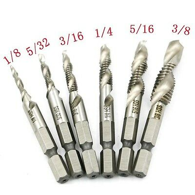 6PCS Hex Shank High Speed Steel Spiral Screw Thread Taps Drill Bits Set