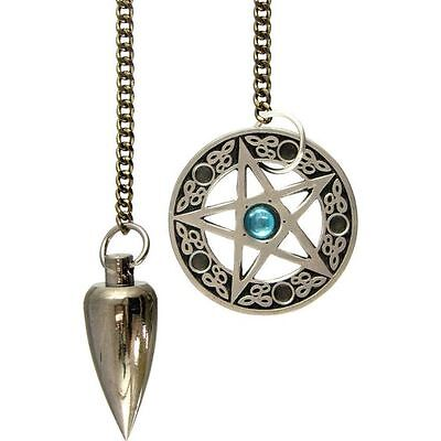 1 x PENTACLE METAL PENDULUM NICKLE Wicca Witch Pagan Reiki Goth Healing New Age