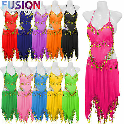 3 Row Belly Dance Costume Hip Wrap Scarf Skirt Belt Dancing Party Outfit Full