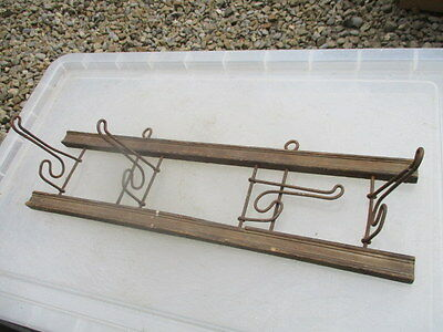 Vintage Wooden Coat Rack Iron Hat Hanger Rustic Old Architectural Antique