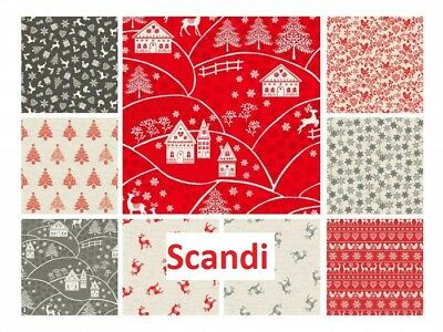 Christmas Fabric Scandi 3 Makower 100% Cotton Patchwork Quilting Nordic