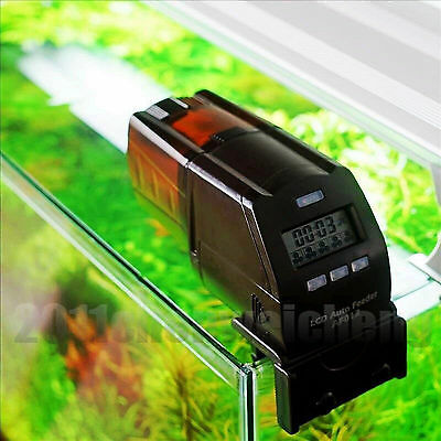 Holiday use aquarium fish tank LCD automatic food feeder 5 time per day operated