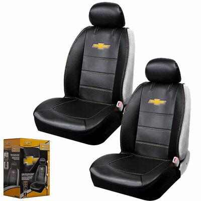 New Chevy Bowtie Synthetic Leather Sideless Car Truck 2 Front Seat Covers Set