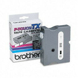 "Brother TX-3551 1"" White On Black P-touch Tape, TX3551 Genuine ptouch label"