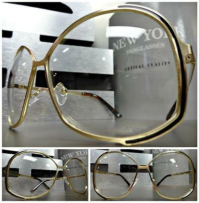 OVERSIZED VINTAGE RETRO Style Clear Lens EYE GLASSES Huge XL Gold Fashion Frame