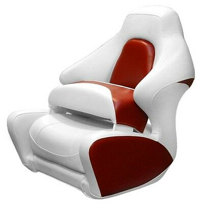Crownline Boat White / Red Marine Captains Bolster Bucket Seat Chair w/ Logo
