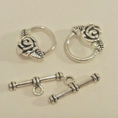 10 Sets of Tibetan Silver Alloy Flower detail Toggles Clasps -A6389