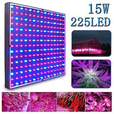 15W 225LED Grow Light Panel Blue Red Lamp Bulb for Hydroponics Indoor Plant Grow