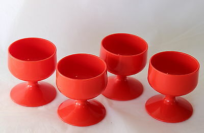 Retro 4 Red Plastic Egg Cups for Boiled Eggs Vintage