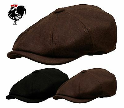 Rooster Wool Newsboy Gatsby Cap Men Driving Ivy Golf Hat Cabbie Black Brown