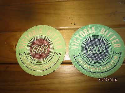 2 Different 1950,s Issue VICTORIA BITTER  beer,collectable COASTERS