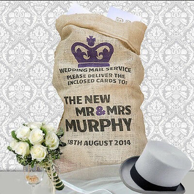 Personalised Wedding Card Post Box alternative Sack Hessian Royal Mail Crown