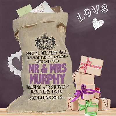 Personalised Wedding Card Post Box alternative Sack Hessian Royal Mail Crest