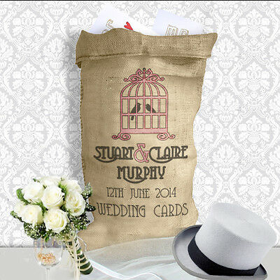 Personalised Wedding Card Post Box alternative Sack Hessian Bird Cage