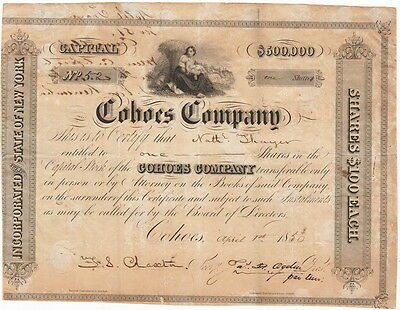 Cohoes Company 1 share of Stock $100, April 1st, 1850  Nathaniel Thayer + Bonds