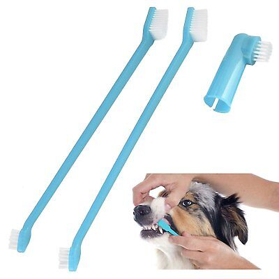 Dog/Puppy Dental Care Set 2 Brushes in Blue and Pink