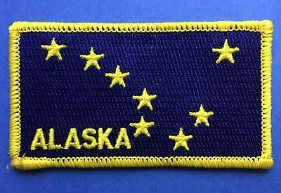 Rare Alaska Flag Shield Iron On Hat Jacket Vest Backpack Travel Patch Crest BB