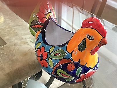 New Mexican Hand Painted Ceramic Rooster Planter  Multi Colors Beautiful!
