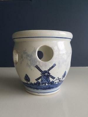 Delfts Blues Handpainted Made In Holland Blue And Cream Planter-Pot Windmill