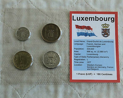 LUXEMBOURG 4 COIN PRE EURO TYPE SET - sealed pack