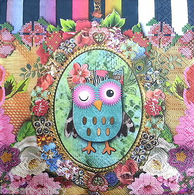 4 Vintage Paper Napkins for Party Lunch Decoupage Decopatch Colorful Owl