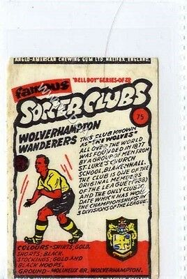(Ga2022-407) Anglo American Gum, Famous Soccer Clubs, #75 Wolverhampton c1959 VG